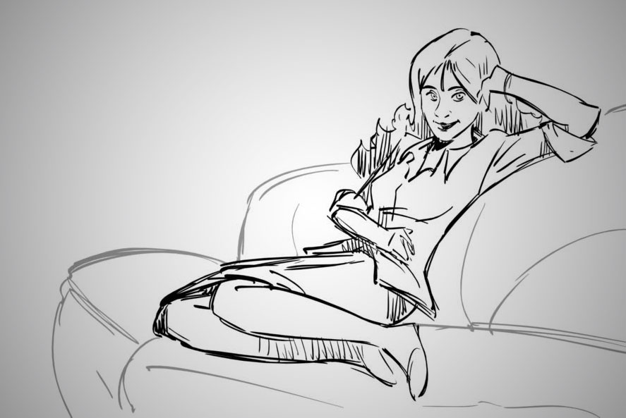 girl laying on a sofa sketch