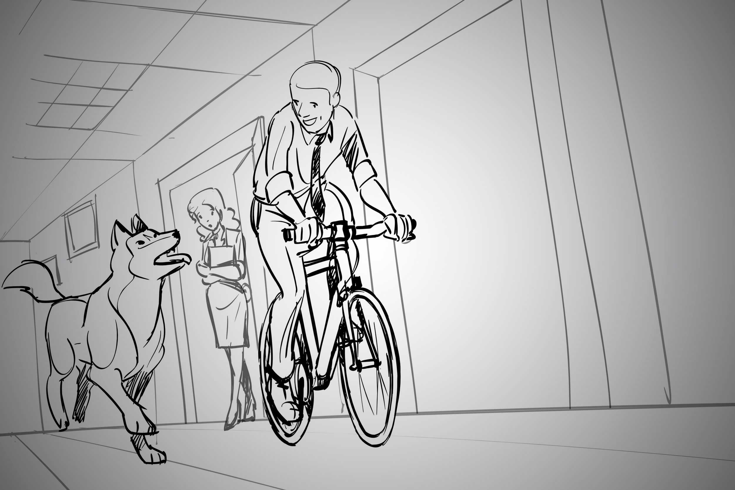 bike and dog sketch