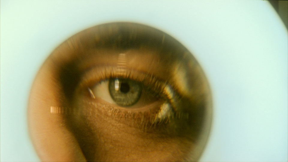 Eye spying from a hole